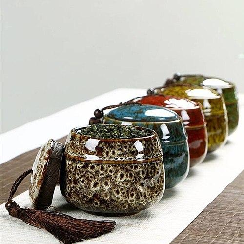 Colorful Tea Box Ceramic Three Styles Coffee Sugar Storage Box Cans Retro Jars For Kitchen Spices Dry Fruit Jar Snacks Tank Hot