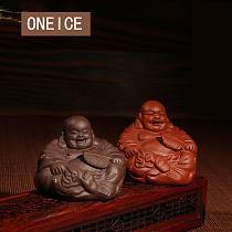 Yixing Tea Play Tea Pet  Play Small Fan Buddha Decoration  Clay Teapet Aceessories