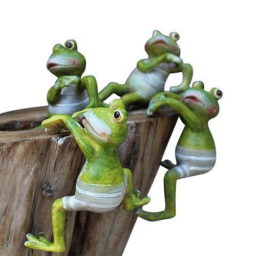 4PCS Cartoon Cute Climbing Cylinder Frog Pot Ornaments Creative Animal Tea Pets Resin Crafts Micro Landscape Home Decorations