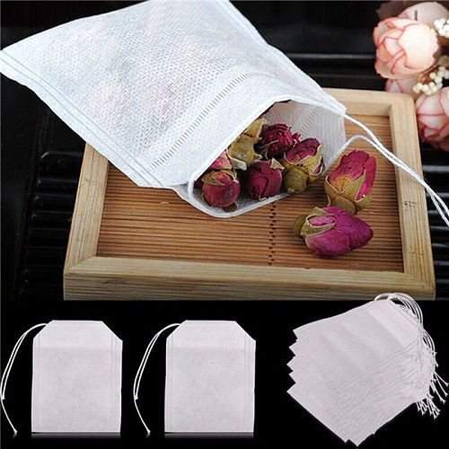 100pcs/pack Non-woven Fabrics Empty Filter Brew Tea Package Bags New Empty Teabags Paper Strainer Scented Small Floral Tea Pack