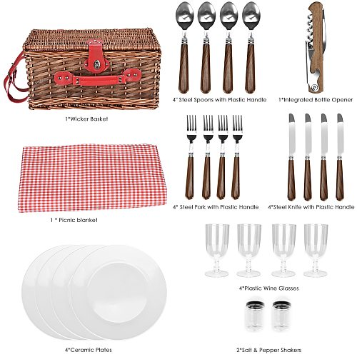 Suitable for 2/4 People Wicker Picnic Basket Outdoor Camping Lunch Box Set Ice Bag Insulation Portable Shopping Bag with Cutlery