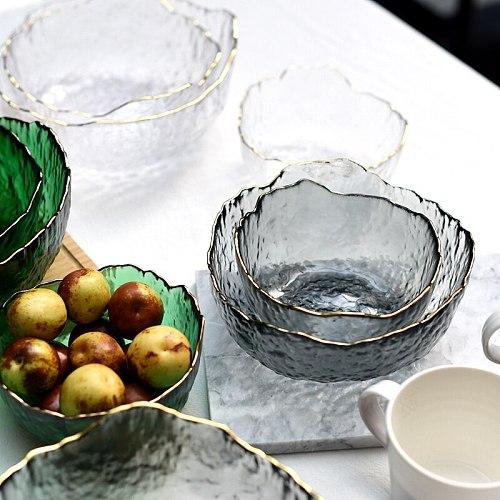 Japanese Style Iceberg Glass Bowl with Glod Rim Transparent Salad Fruit Soup Dessert Snack Foods Mixing Bowl Tea Wash Large