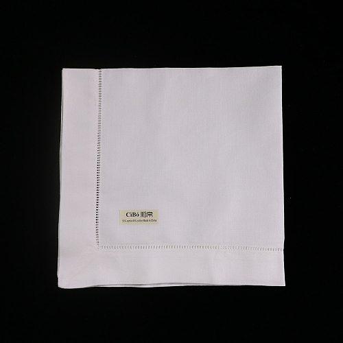 N001-18:  120 pieces Ramie Cotton Blend  White Hemstitch Dinner Napkins 18  x 18  Ladder Hemstitch Cloth Dinner Napkin