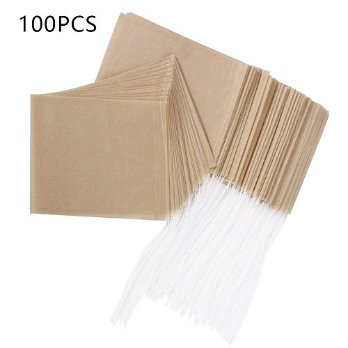 100Pcs/Set Tea Strainers Empty Drawstring Teabags Pouch Bag Disposable Seal Filter Herb Spice Loose Coffee Tea Bags String Heal