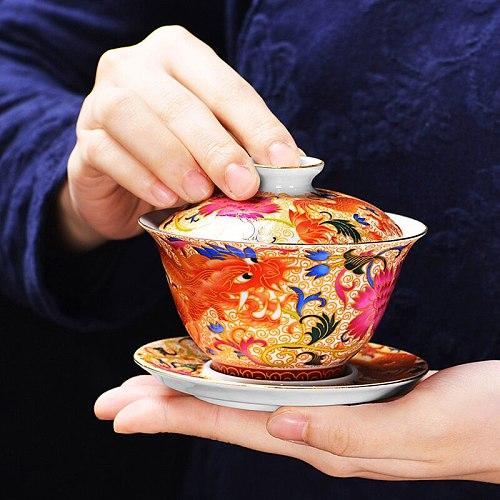 WHYOU Ceramic Gaiwan Unique Tea Set for Milk Oolong Tea Bone China Cover Bowl Dragon Auspicious Tea Tureen Office Decor Gift