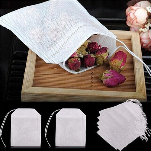 100 Pcs Tea Bags Bags For Tea Bag Infuser With String Heal Seal 5 x 7CM Sachet Filter Paper Teabags Empty Tea Bags