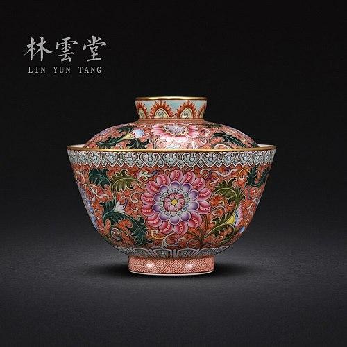 Lin Yuntang hand-painted lotus bracken grain colored enamel tureen jingdezhen ceramics by hand only two kung fu tea cup