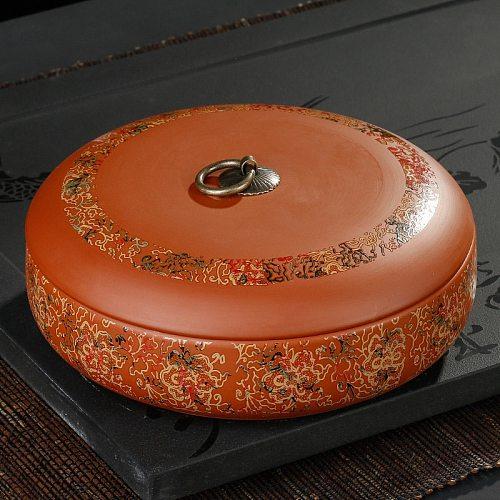 Purple Clay Tea Jars Round Sugar Bowl Spices Storage Box 20.5*7.5cm Tea Tank Container High-capacity Kitchen Food Organizer Box