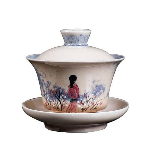 Jingdezhen Gaiwan 130ml Handmade Ceramic Tea Bowl Art Teaware Master Cup Tea Tureen Drinkware Decor Crafts As Birthday Gifts