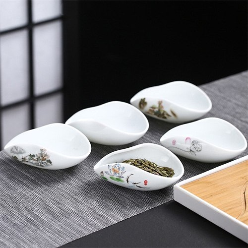 Creative Ceramic Hand Painted Coffee and Tea Tools White Porcelain Tea Scoops Teaspoon Chinese Handmade Tea Leaf Container