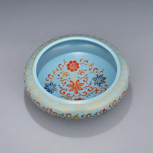 Yongzheng Qing Dynasty year mark enamel colorful twigs flower tea washing  bowl tea ceremony utensils antique porcelain bowl
