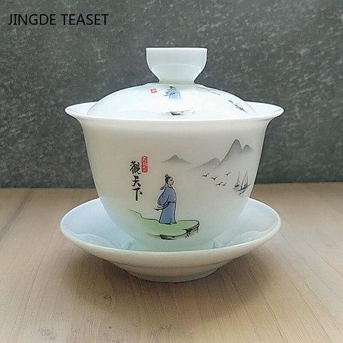 Dehua Ceramic Tea Gaiwan Teacup Handmade Tea tureen Chinese Retro Tea set Accessories Tea Ceremony Drinkware Master cup 200ml