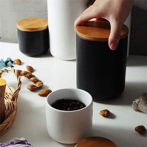 260ML 800ML kitchen Ceramic Storage Tank Sealed Coffee Storage Bottle with Wood Lid Spice Jar Container Tea Pot Grain Organizer