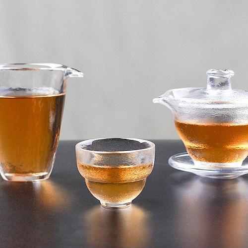 Japanese Glass Fair Mug Early Snow Tureen Fair Mug Complete Set of Tea Set Drawing Gold Hammer Eye Pattern Gaiwan Teacup