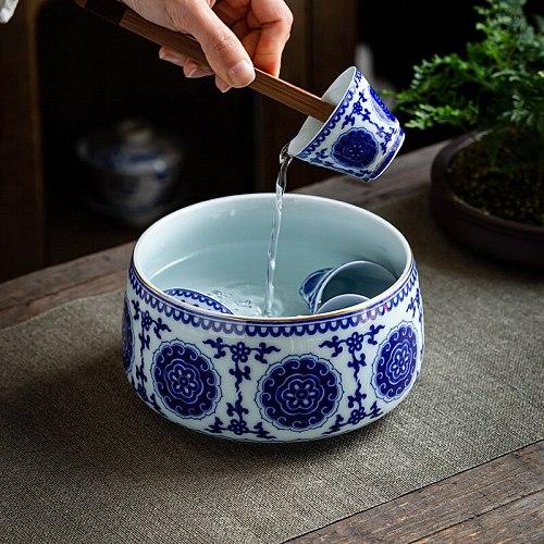 Blue and White Porcelain Large Tea Basin Tea Basin Writing-Brush Washer Cup Wash Bowl Kung Fu Tea Set Tea Ceremony Tea Wash
