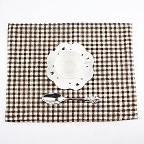 30x40cm Plaid placemats fashion cotton linen placemat heat insulation mat dining table mat  fabric Napkins