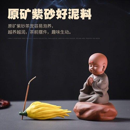 Ceramic purple sand tea pet ornaments Zen little monk tea player's house tea ceremony accessories