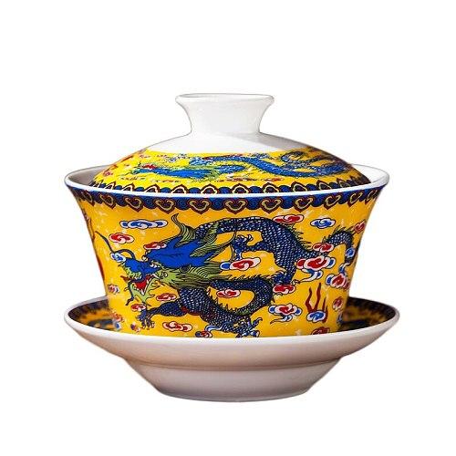 Jingdezhen Gaiwan Porcelain Ceramic Tea Bowl Saucer Cover Set 240ml Master Pu'er Cup Teaware Drinkware Tea Tureen Container Gift