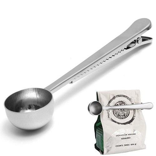 1 pc Multifunction Stainless Steel Coffee Scoop With Clip Coffee Tea Measuring Scoop 1Cup Ground Coffee Measuring Scoop Spoon