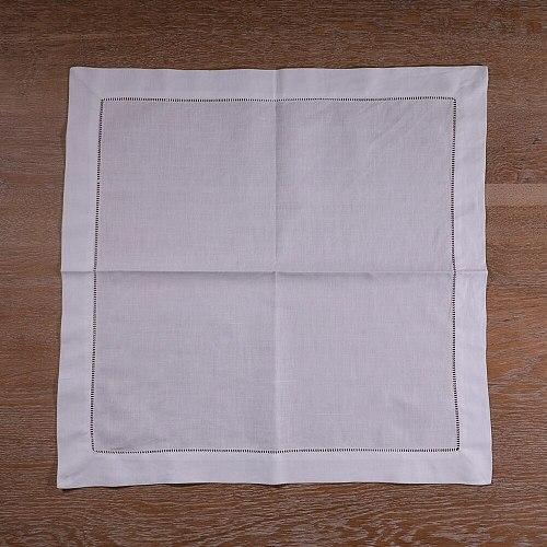 N001-20 : 120 pieces White Ramie Cotton Blend Napkins  Ladder Hemstitch Cloth Dinner Napkin