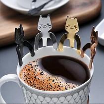 Stainless Steel Teaspoons Creative Cute Cat Coffee Spoon Dessert Snack Scoop Ice Cream Mini Spoons Tableware Handle Tea Spoons