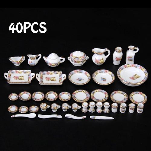 40pcs/set 1:12 Mini Doll House Cutlery Porcelain Tea Set Dishes Play House Toys Home Table Decoration Nice Gift