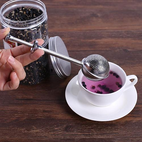 1pc Stainless Steel Tea Strainer Teapot Ball Mesh Tea Infuser Push Style Metal Spice Tea Infuser Strainer Kitchen Accessories