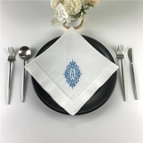 Table napkins Monogrammed Dinner Napkins White linen Hemstitch Table Napkins 20 x20 Ladder Embroidered Initial Tea Napkins