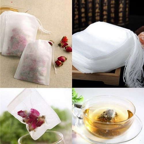 100Pcs Disposable Tea Bags Teaweare Herb Loose Tea Bags With String Heal Seal Filter Paper Empty Scented Teabags 5.5 x 7CM