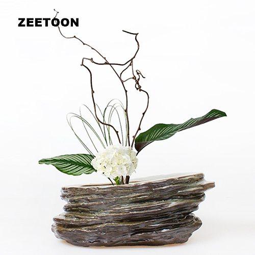 Zen Japanese Floral Art Vintage Hydroponics Flower Pot Coarse Pottery Tabletop Vase Fish Tank Bowl Tea Wash Creative Home Decor