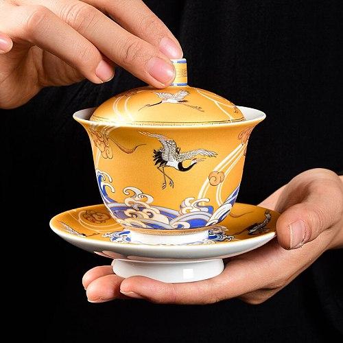 Auspicious Crane Tea Tureen 200ml Ceramic Cup Enamel Tea Bowl China Gaiwan Kung Fu Teaware Home Decoration Crafts Collection