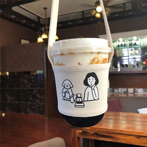 Cover Canvas Printing Milk Tea Set Drinking Bottle Strap Portable Water Bottle Holder Carry Bag Coffee Cup Storage Sleeve