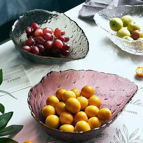 Japanese Style Glass Bowl Transparent Fruit Salad Soup Dessert Snack Food Mixing Bowl Tea Wash Large Snack Plate Dessert Plate