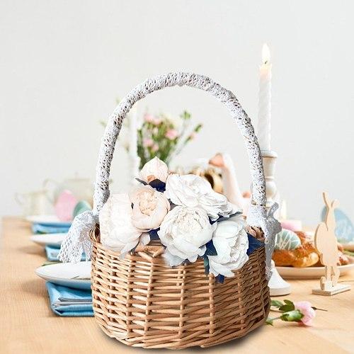 Picnic Wicker Basket Fruit Rattan Storage Box Snacks Tea Basket Willow & Cloth Storage Basket With Lid Home Decor Centerpiece