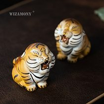 WIZAMONY 1PCS Zisha tea pet tiger ornaments Chinese purple clay painting tiger tea play tea accessories can be raised wholesale