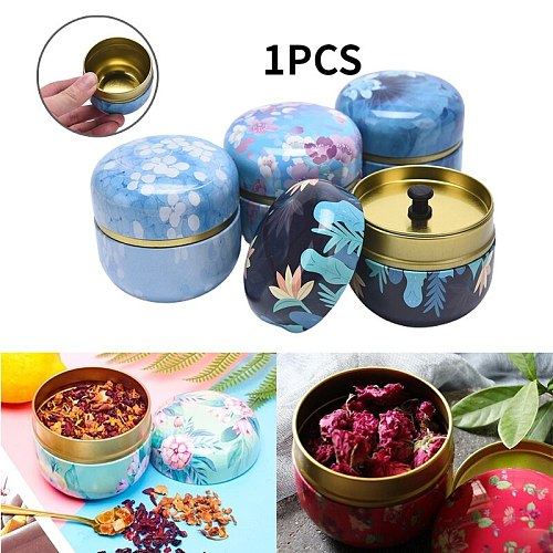 1PC Tea Containers Japanese-Style Herbal  Small Candy Snacks round Cans Mini Portable Tinplate Cans Packing Box Multicolor