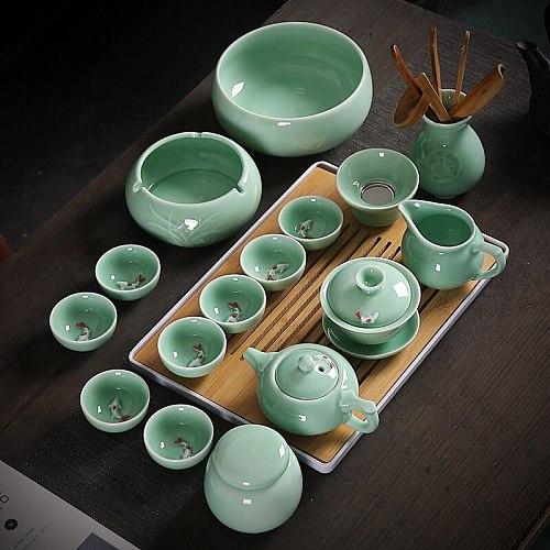 Celadon Kung Fu Tea Set Home Office Ceramic Carp Tea Cup Cover Bowl Teapot Tea Washing Tray Complete Combination
