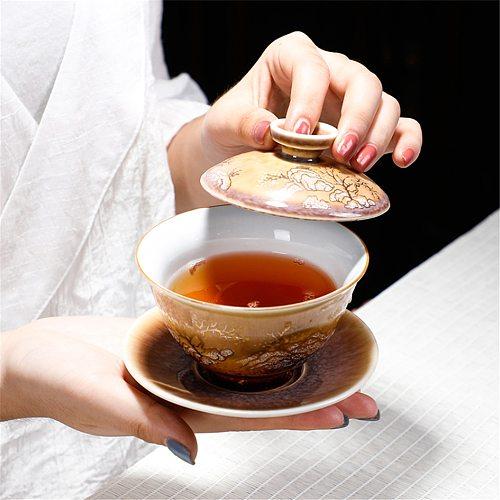 Jingdezhen Vintage Tea Bowl 130ml Handmade Kiln Change Tea Tureen Ceramic Master Cup Drinkware Kung Fu Gaiwan Teapot Crafts Gift