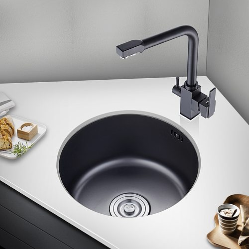 Round Kitchen Wash Basin 40x40cm Dishwasher Pool Small Sink Single Slot 304 Stainless Steel Package Balcony Tea Room Bar