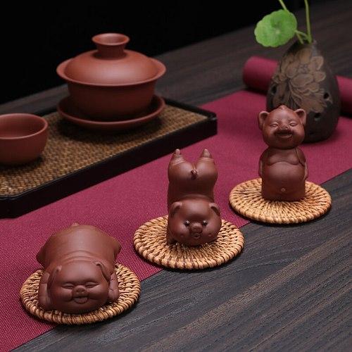 1PCS Ceramic Tea pet Ornaments Small pig Statue animal Figurine Boutique Home Tea decoration Accessories Purple Ceramic Crafts