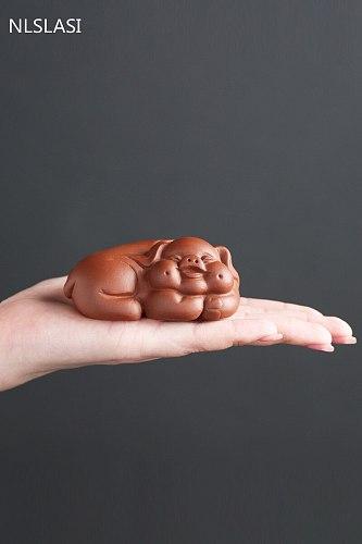 1 PCS Purple Clay Tea pet Lovely Small pig Statue animal Figurine Ornament Boutique Tea Accessories Crafts home tea decoration