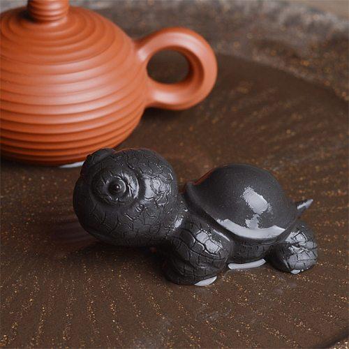 Ceramic Figurines Cute Big Turtle Tea pet Ceremony Accessories, Table Ccessories, Tea Set Decorations