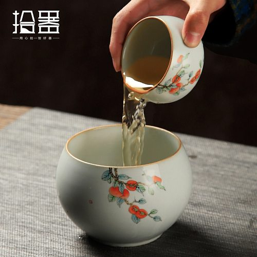 Ruyao tea washing ceramic tea residue jar water bowl pen washing small household cup tea set pot dry bubble table tea ceremony