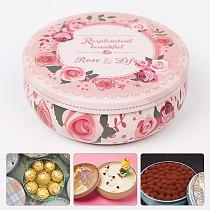 Multi-Style Round Printing Portable Round Tea Sugar Coffee Storage Box Tin Case Kitchen Flower Drawing Style Cake Packaging Gift