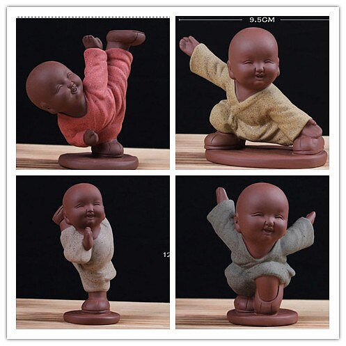 Purple Clay Tea Pet Toy Handmade Kungfu Buddhist monk Sand Tea Set for Kitchen Tea accessories Chinese Tea Tools Ceramic Gift