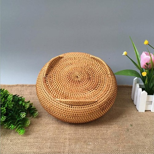 Storage Basket Hand-Woven Rattan Woven with Cover Round Primary Color Chinese Jewelry Snacks Tea Set Storage Box