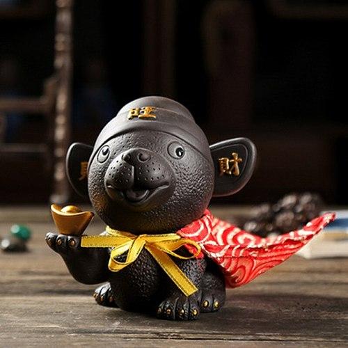 Handmade Purple Clay Tea Pet Ornaments Can Raise Zisha Zhaocai Dog Wangcai Cute Creative Tea Set Tea Play Zodiac Dog