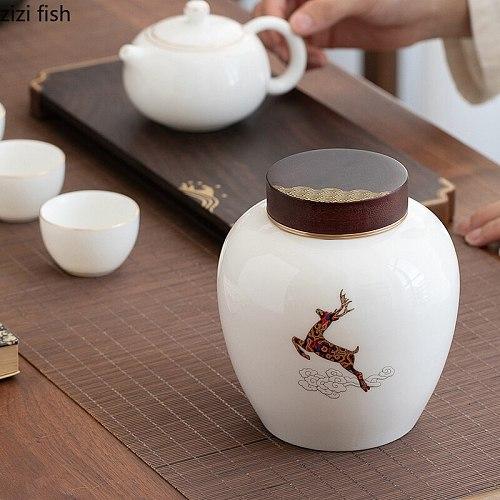 Ceramic Tea Caddy Wooden Cover Metal Cover Storage Tank Sealed Jar Tea Box Storage Jar Decorative Jars Sugar Bowl Tea Container