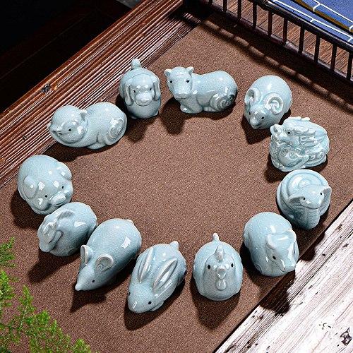 Ceramic Ru Kiln Fine Tea Pets Chinese Zodiac Tea Ceremony Decoration Gifts Kung Fu Tea Tea Table Decorations