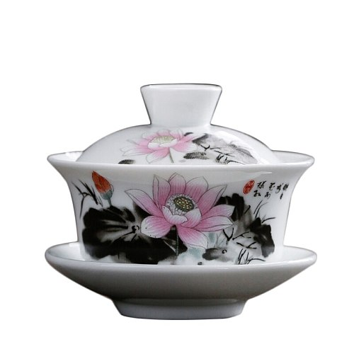 Gaiwan Porcelain Ceramic 120ml Tea Bowl Saucer Lid Set Master Tea Tureen Cup Bowls Teaware Drinkware Container Crafts As Gifts